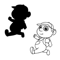 cartoon boy with a backpack outline