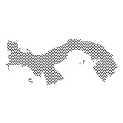 Panama map country abstract silhouette of wavy black repeating lines. Contour of sinusoid curve. Vector illustration.