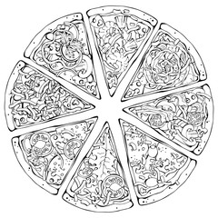 Group of vector illustrations on the pizza theme; pieces of pizza from different recipes.
