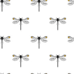 Dragonfly insect seamless pattern