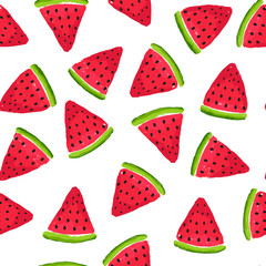 Bright watermelon slices seamless pattern