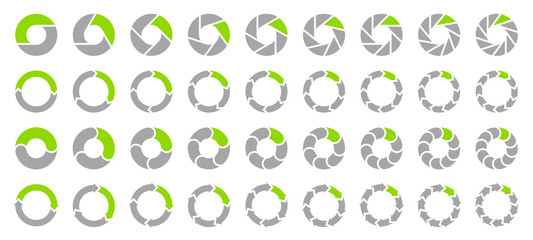 Set Pie Charts Arrows Grey/Green Fotomurales