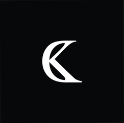 Outstanding professional elegant trendy awesome artistic black and white color CK KC initial based Alphabet icon logo.