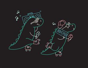 Dinosaurs on roller skates
