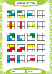 Repeat pattern. Cube grid with colorfull squares. Special for preschool kids. Worksheet for practicing fine motor skills. Improving skills tasks. Green A4. Snap game.3x3