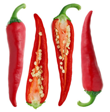 Pods of fresh chili peppers - view from the outside and  inside