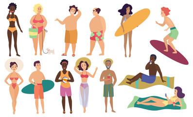 Ocean sea beach summer activities cute people humans vector illustration set.