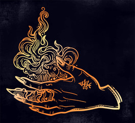 Witch gothic hand with fire flames with black nails, claw ring and tattoo. Magic.
