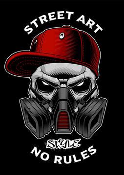 Graffiti skull with gas mask.