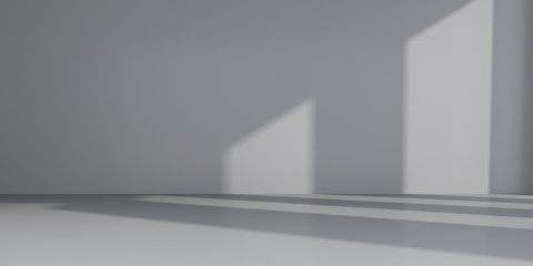 Abstract of empty room space with sun light cast the window shadow on the wall and floor,Perspective of minimal design architecture.3d render