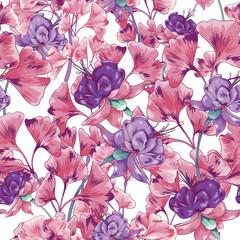 Pink Purple Seamless Vector Botanical Pattern