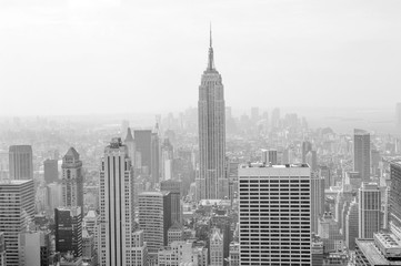 Fond de hotte en verre imprimé New York City Sepia-colored view of midtown and downtown Manhattan from above
