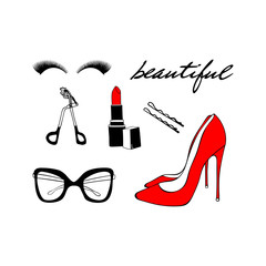 Vector fashion makeup sketch set. Hand drawn graphic red shoes, red lipstick, eye glasses, eyelashes, eyelash curler, Hair pin. Inscription lettering beautiful. Fashion illustration kit vogue style