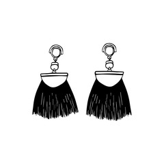 Hand drawn earrings tassels. Jewelry Icon. Premium quality graphic design. Ink hand drawn picture sign sketch in art doodle style. Perfect for logo, logotype, invitation, greeting card, poster, etc