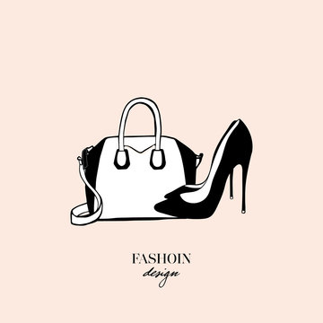 Women's accessories poster. Bags and black high heeled ladies shoes. Fashion design card on beige background. Drawn Doodle Fashion Accessory. Perfect for logo, poster, print etc. Vector Illustration
