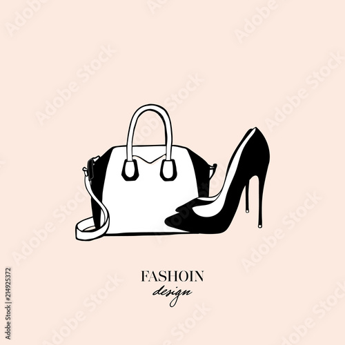 Bags and black high heeled ladies shoes. Fashion design card on beige  background. Drawn Doodle Fashion Accessory. Perfect for logo 753091e5a