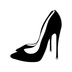 Hand drawn black women shoes heels. Romantic icon of two classic women's footwear items isolated on white background. Freehand ink hand drawn picture sign sketch in art doodle style pen on paper