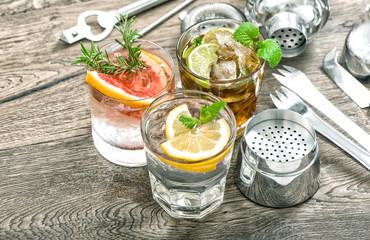 Summer fruit drinks lemonade mint leaves ice Cocktail