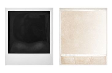 Instant photo polaroid frame isolated white background