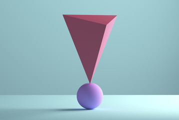 Pyramid balancing on a sphere, 3D Rendering