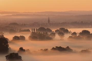Morning fog over townscape