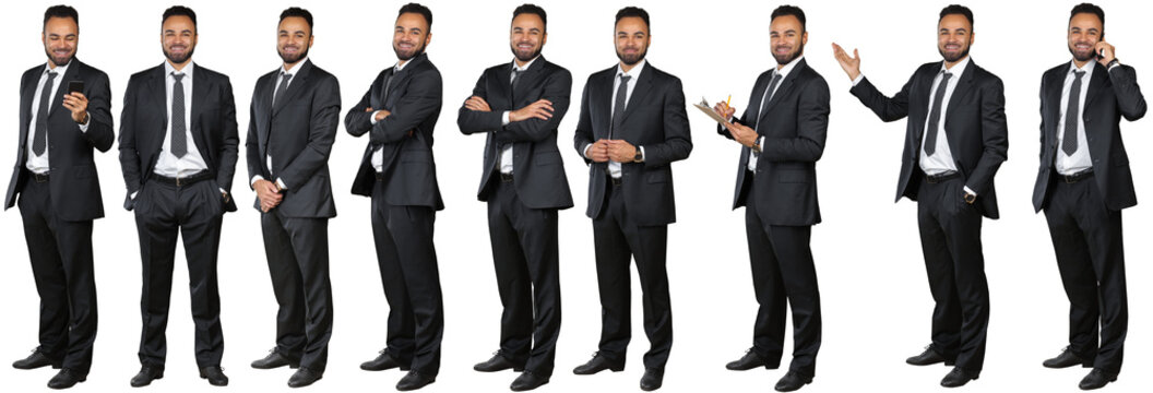 Collage Of Confident african american Businessman standing Over White Background