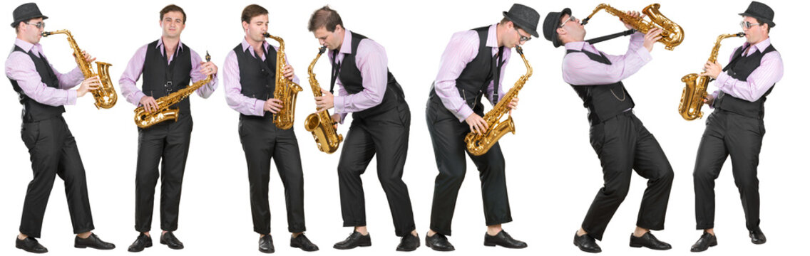 Full length profile shot of a  man playing a saxophone isolated on white background collage