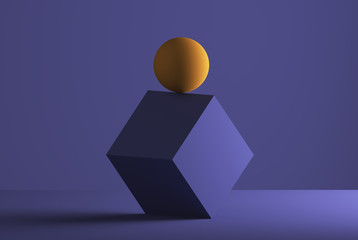 Sphere balancing on the edge of a cube, 3D Rendering