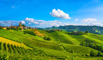 Langhe vineyards sunset panorama, Serralunga Alba, Piedmont, Italy Europe.