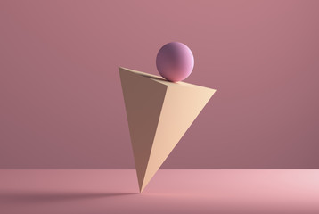 Sphere balancing on the edge of a pyramid, 3D Rendering