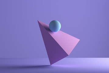 Sphere balancing on a pyramid, 3D Rendering