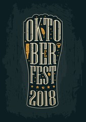 Typography poster. Beer glass on brown old paper background.