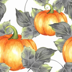 Seamless pattern with pumpkins. Watercolor background