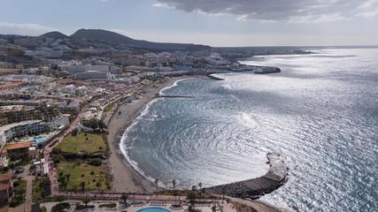 Aerial view of Tenerife island Canary Spain Atlantic ocean drone top view