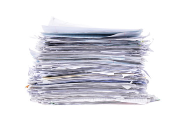 pile of paperwork isolated white background