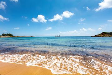Island with orange sand beach