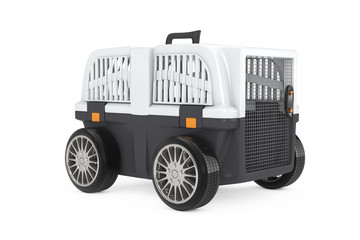 Pet Travel Plastic Cage Carrier Box on Car Wheels. 3d Rendering