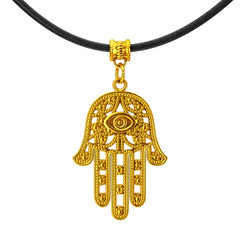 Golden Hamsa, Hand of Fatima Amulet Coulomb. 3d Rendering