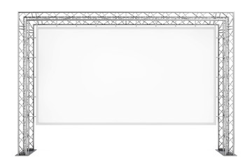 Blank Advertising Outdoor Banner on Metal Truss Construction System. 3d Rendering