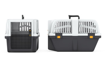 Pet Travel Plastic Cage Carrier Box. 3d Rendering