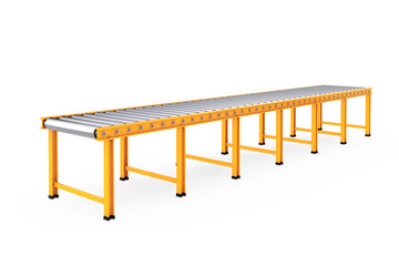Empty Roller Conveyor Line. 3d Rendering