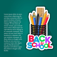 Back to School sticker with pencil case