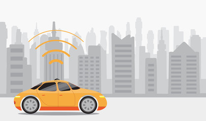 Robotic self-driving cars on city background.