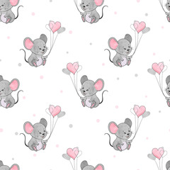 Seamless pattern with cute mice and heart balloons.