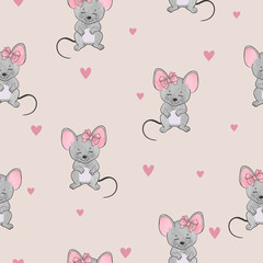 Seamless cute mice pattern. Vector watercolor mouse background for kids.