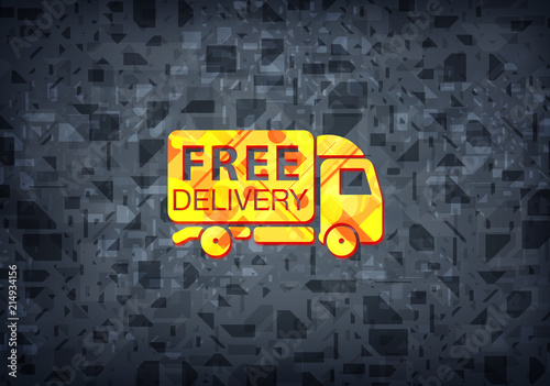 Free Delivery Truck Icon Black Background Stock Photo And