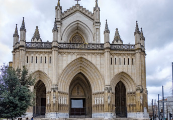 Facade of the Cathedral of Mary immaculate of Vitoria, made in neo-Gothic style and built in the first half of the twentieth century and known as the new cathedral.