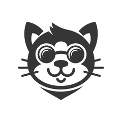 Cat in Glasses Cartoon Face Icon. Vector