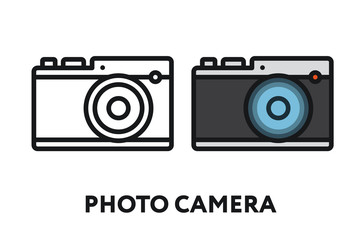 Photo Film Camera. Photography Equipment Concept. Minimal Color Flat Line Outline Stroke Icon.
