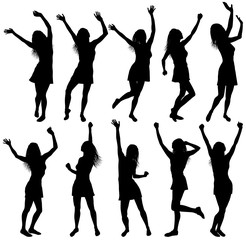 Illustration with happy dancing women silhouettes with hands up, isolated